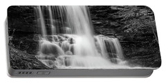 Black And White Photo Of Sheldon Reynolds Waterfalls Portable Battery Charger