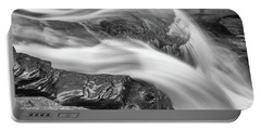 Black And White Rushing Water Portable Battery Charger
