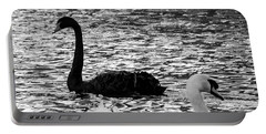 Black And White Swans Portable Battery Charger