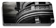 Portable Battery Charger featuring the photograph Black Cat On A Fifth Avenue Balcony by Chris Lord