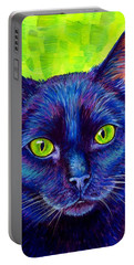 Black Cat With Chartreuse Eyes Portable Battery Charger