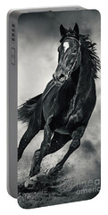 Portable Battery Charger featuring the photograph Black Horse Running Wild Black And White by Dimitar Hristov