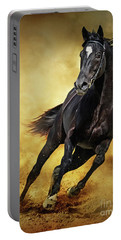 Portable Battery Charger featuring the photograph Black Horse Running Wild by Dimitar Hristov