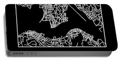 Black Map Of Hong Kong Portable Battery Charger