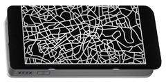 Black Map Of London Portable Battery Charger