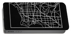 Black Map Of Los Angeles Portable Battery Charger