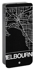 Black Map Of Melbourne Portable Battery Charger