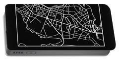 Black Map Of Reykjavik Portable Battery Charger