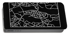 Black Map Of Stockholm Portable Battery Charger
