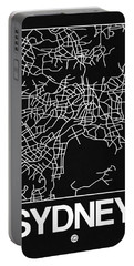 Black Map Of Sydney Portable Battery Charger