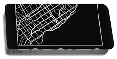 Black Map Of Toronto Portable Battery Charger