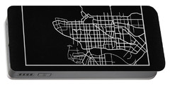 Black Map Of Vancouver Portable Battery Charger