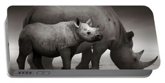 Black Rhinoceros Baby And Cow Portable Battery Charger
