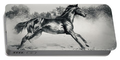 Portable Battery Charger featuring the photograph Black Stallion Horse by Dimitar Hristov