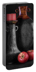 Black Vase With Red Apples Portable Battery Charger
