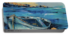 Blue Boat On The Mediterranean Beach Portable Battery Charger