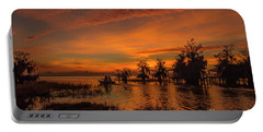 Blue Cypress Sunrise With Boat Portable Battery Charger
