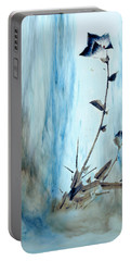 Blue Flower Abstract Portable Battery Charger