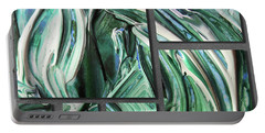 Blue Green Gray Abstract Collage Portable Battery Charger