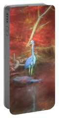 Blue Heron Red Background Portable Battery Charger