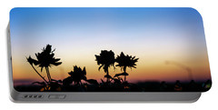 Blue Hour Sunset With Flowers Portable Battery Charger