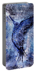 Portable Battery Charger featuring the painting Blue Hummingbird by 'REA' Gallery