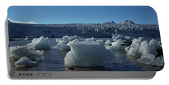 Blue Icebergs Floating Along Storm Arctic Coast Panorama Portable Battery Charger