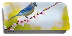 Blue Jay On Cherry Tree Portable Battery Charger