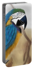 Portable Battery Charger featuring the digital art Blue Parrot by Fe Jones