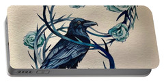 Portable Battery Charger featuring the painting Blue Thorn Raven by Camille Rendal