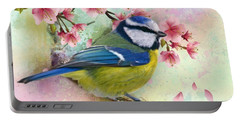 Blue Tit And Falling Blossom Portable Battery Charger