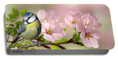 Blue Tit On Apple Blossom Portable Battery Charger