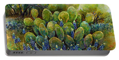 Bluebonnets And Cactus 2 Portable Battery Charger