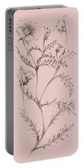 Blush Pink Flower Illustration I Portable Battery Charger