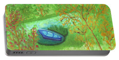 Portable Battery Charger featuring the painting Boat In A Quiet Backwater by Dobrotsvet Art