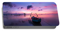 Boat Under The Sunset Portable Battery Charger