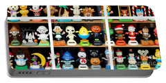 Bobbleheads In Store Window In Schroon Lake Ny In Adirondacks Portable Battery Charger