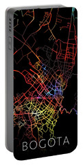 Bogota Colombia City Street Map Watercolor Dark Mode Portable Battery Charger