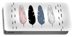 Boho Feathers - Boho Chic Ethnic Nursery Art Poster Print Portable Battery Charger