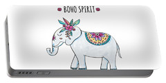 Boho Spirit Elephant - Boho Chic Ethnic Nursery Art Poster Print Portable Battery Charger