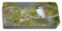 Boreal Chickadee In Winter Portable Battery Charger