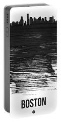 Boston Skyline Brush Stroke Black Portable Battery Charger