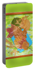 Portable Battery Charger featuring the mixed media Bouquet From Fallen Leaves by Elly Potamianos