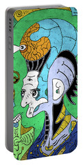 Portable Battery Charger featuring the digital art Brain-man by Sotuland Art
