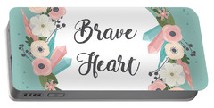 Brave Heart - Boho Chic Ethnic Nursery Art Poster Print Portable Battery Charger