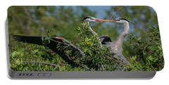 Portable Battery Charger featuring the photograph Breeding Herons by Donald Brown