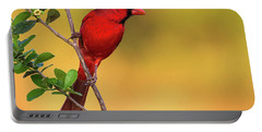 Bright Red Cardinal Portable Battery Charger