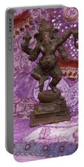 Bronze Ganesha Dancing, On Purple Portable Battery Charger