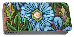 Brown And Blue Floral 1 Portable Battery Charger