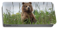Brown Bear Cub In A Meadow Portable Battery Charger